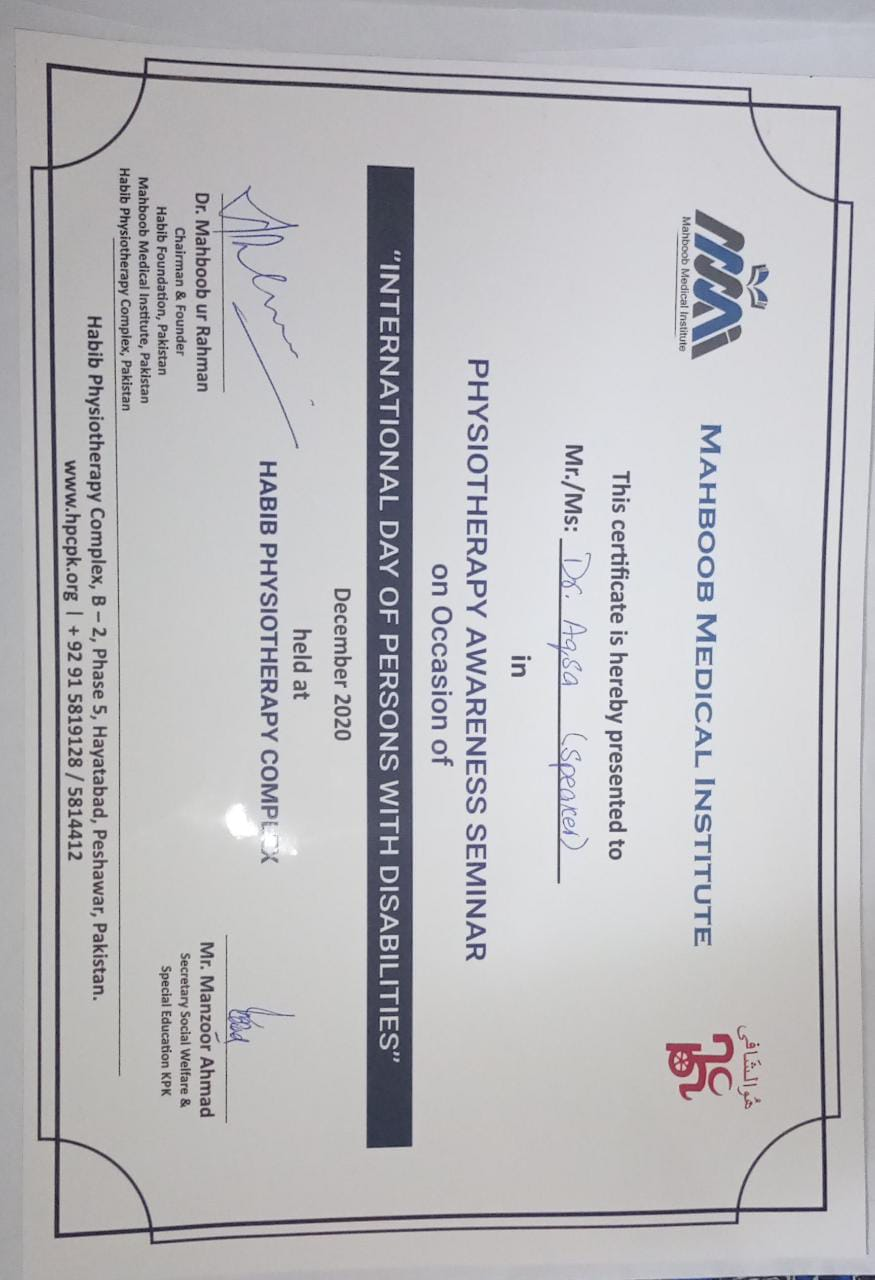 Certificate Awarded to Dr. Aqsa Siddique, the guest motivational speaker at the event
