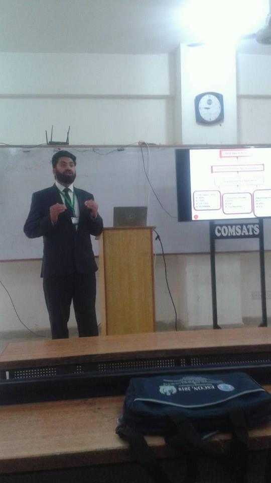 Dr. Latif ur Rahman is talking on Alloy Nanoparticles Based Electrochemical sensor for Detection of Environmental Toxin: Anthracene during International conference on Environmental toxicology and health at Comsats Vehari Campus Punjab organized by HEC