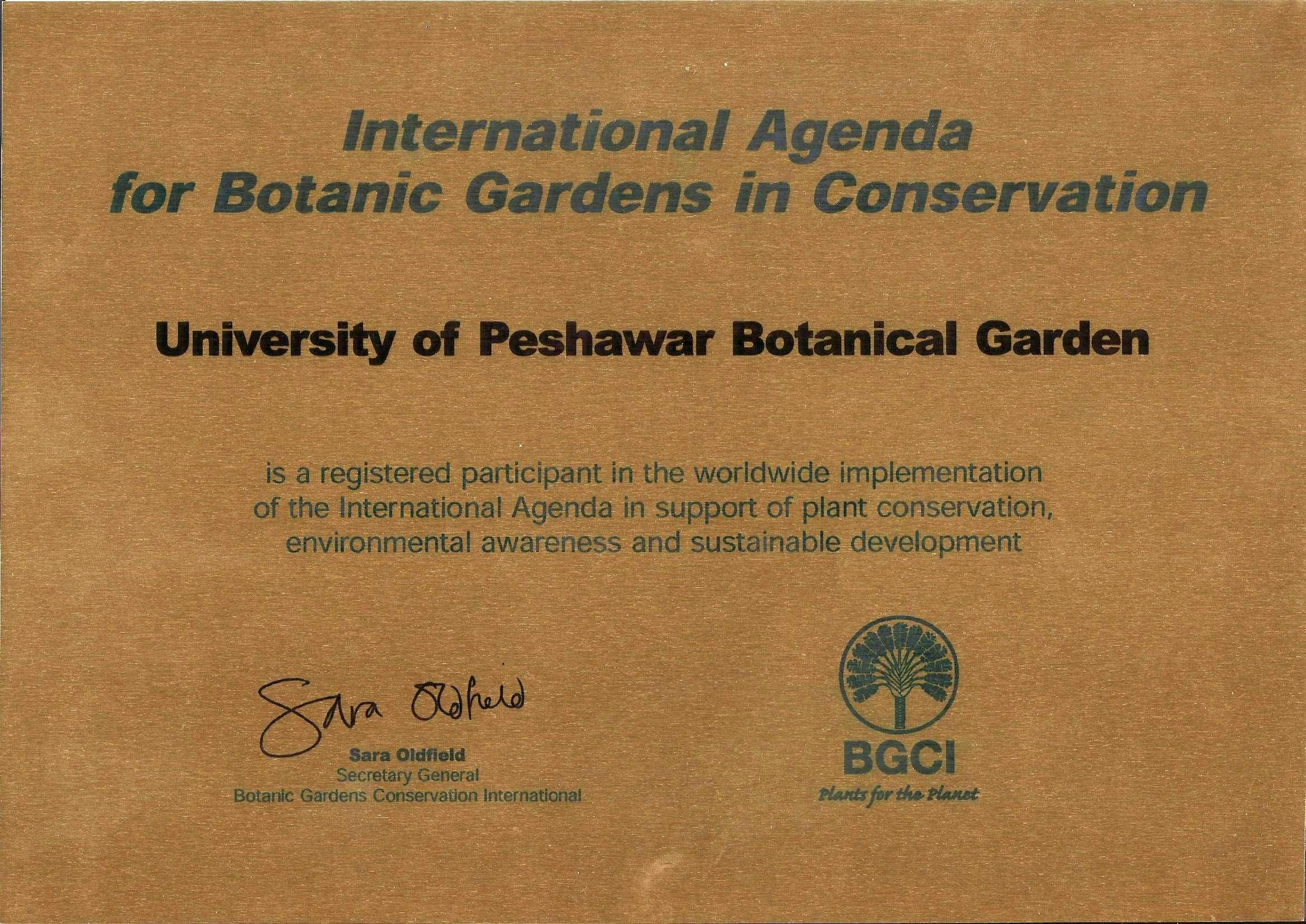 University of Peshawar Botanical Garden is Internationally recognized and registered with Botanic Garden Conservation International (BGCI)