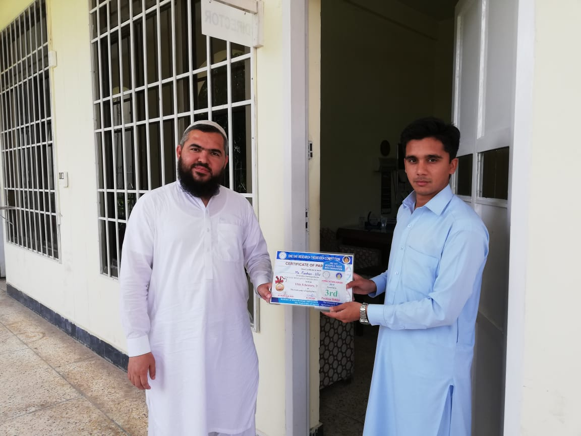 Mr Farhan Ullah (M.Phil Scholar) got 3rd position in one day Research completion at the University of Agriculture Peshawar 