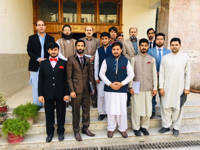Students posing for group photo after viva with Dr. Shafiq Ur Rehman, Mr. M Farrukh & Mr. Dost Muhammad, lecturers QACC