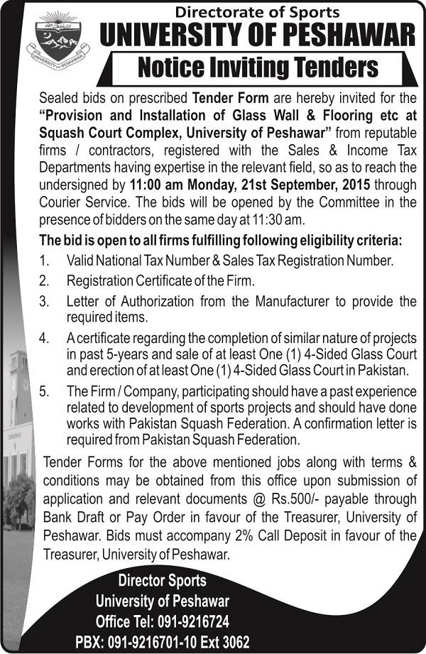 Tender Archives | University of Peshawar
