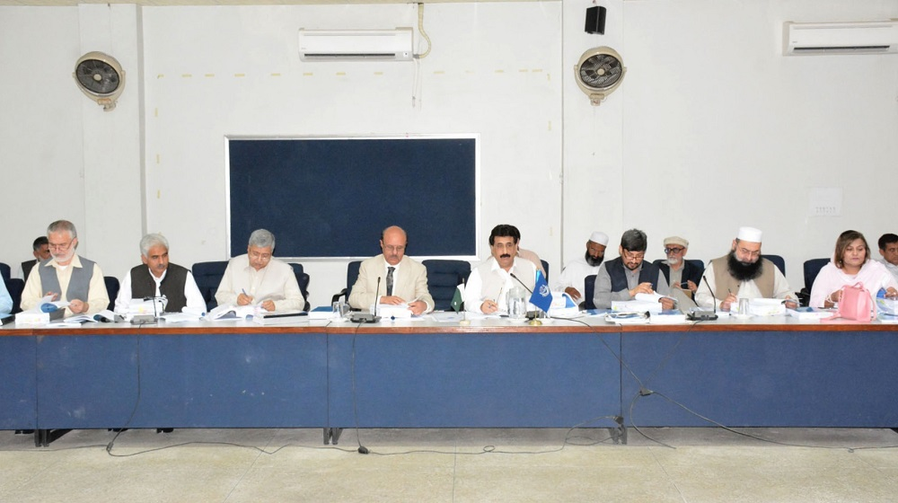 A snap of first sitting of academic council meeting held  on 18th April that witnessed introduction of new and revised BS courses along with latest courses for  economics , criminology and  political science.