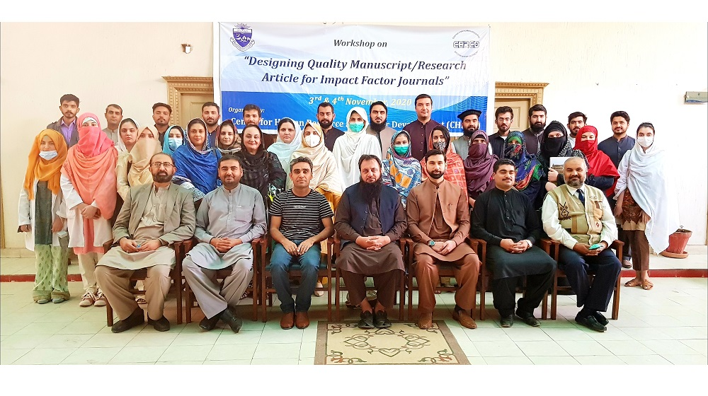 A two-day workshop concludes on the topic of 'Quality Manuscript/ Research Article for Impact Factor Journals', organized by Center for Human Resource and Career Development (CHRCD), University of Peshawar.