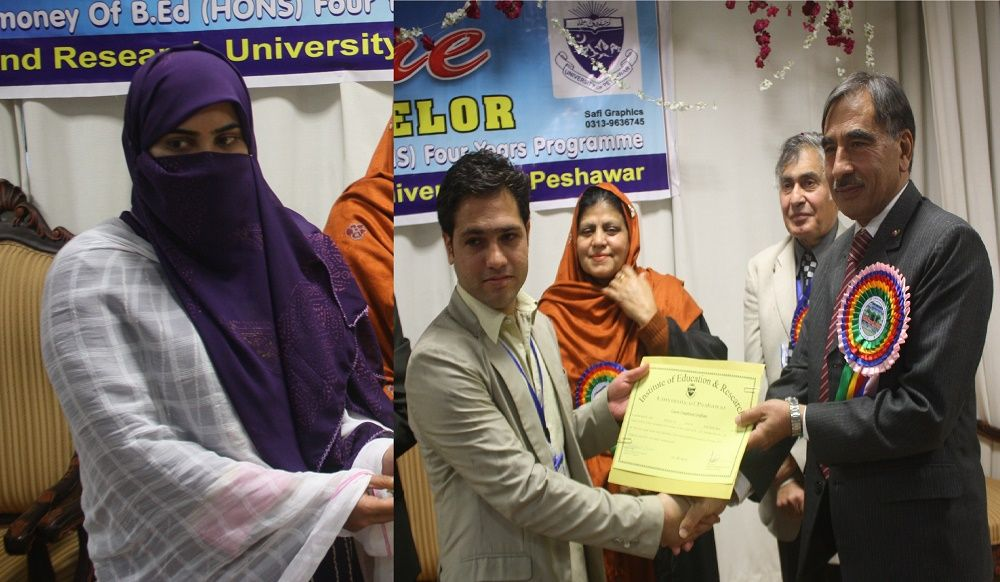 Vice Chancellor UoP Prof. Dr. Muhammad Rasul Jan presenting B. Ed degrees to students at the Institute of Education and Research University of Peshawar