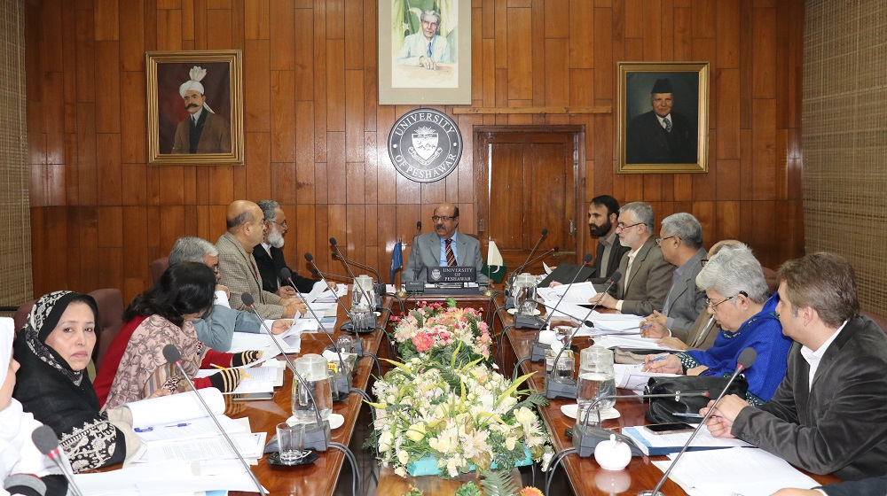 The Vice Chancellor University of Peshawar  Prof.Dr.Muhammad Asif Khan is chairing the Advanced Studies and Research Board (ASRB) at the Committee room I along with deans and members to review doctoral proposals and policies on 28th January,2019.
