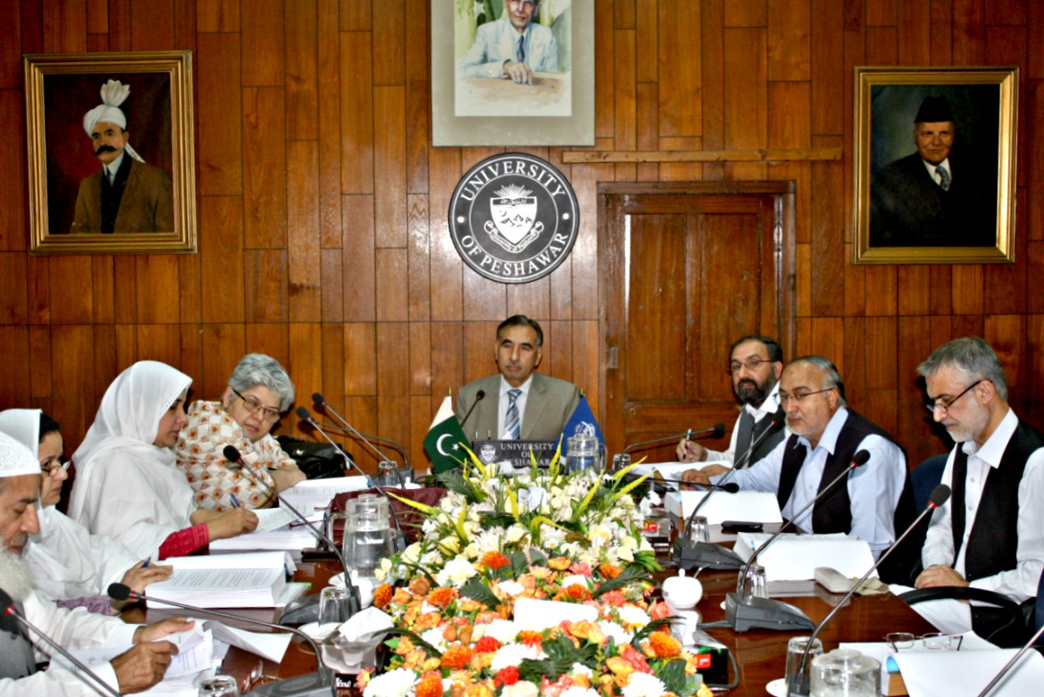 Vice Chancellor UoP Prof. Dr. Muhammad Rasul Jan chairing meeting of the ASRB at the UoP