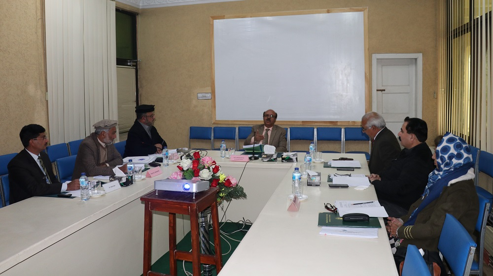 Vice Chancellor University of Peshawar Prof.Dr.Muhammad Asif Khan is overseeing the performance of Pakistan Study Centre during board of governors meeting at the centre on 30th  December, 2019.