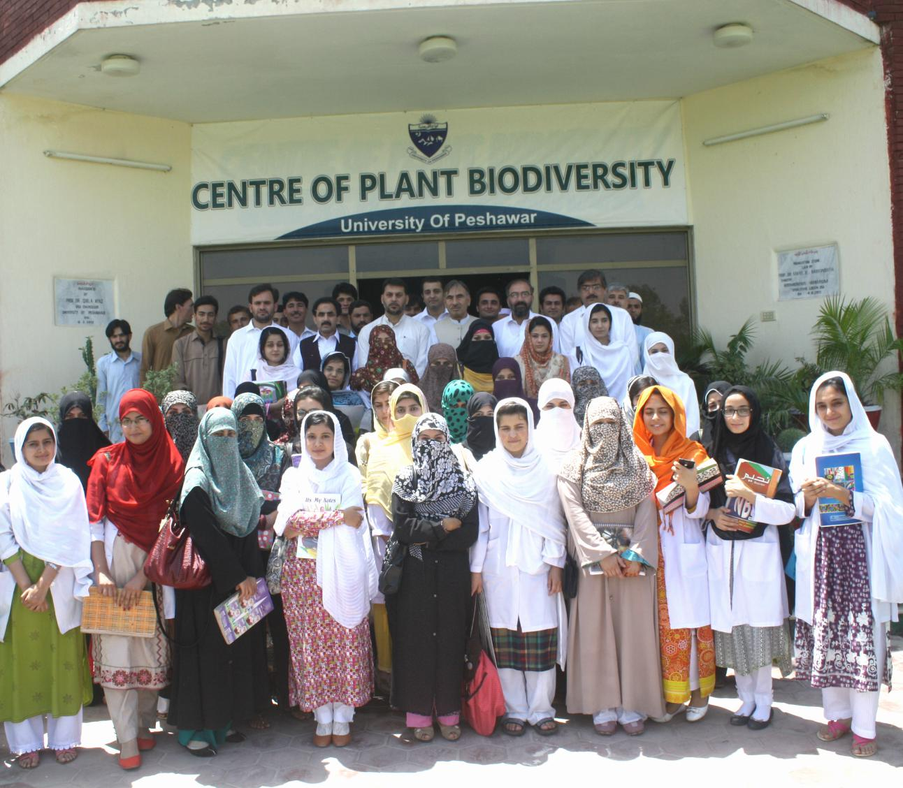 Vice Chancellor UoP Prof. Dr. Muhammad Rasul Jan in group photo with students and staff at Azakhel Botanical Garden, UoP