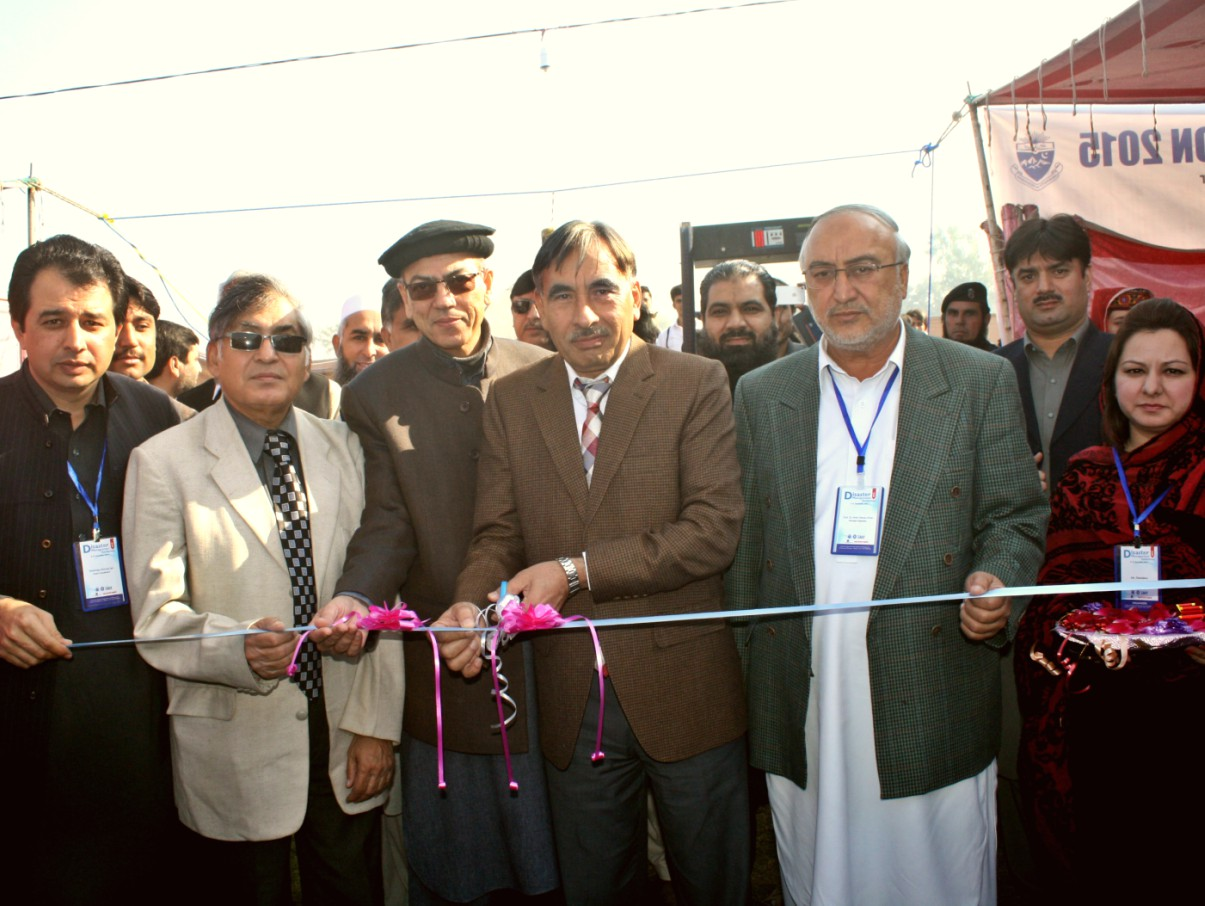 Vice Chancellor UoP Prof. Dr. Muhammad Rasul Jan inaugurating 7th National Disaster Management Exhibition at the University of Peshawar