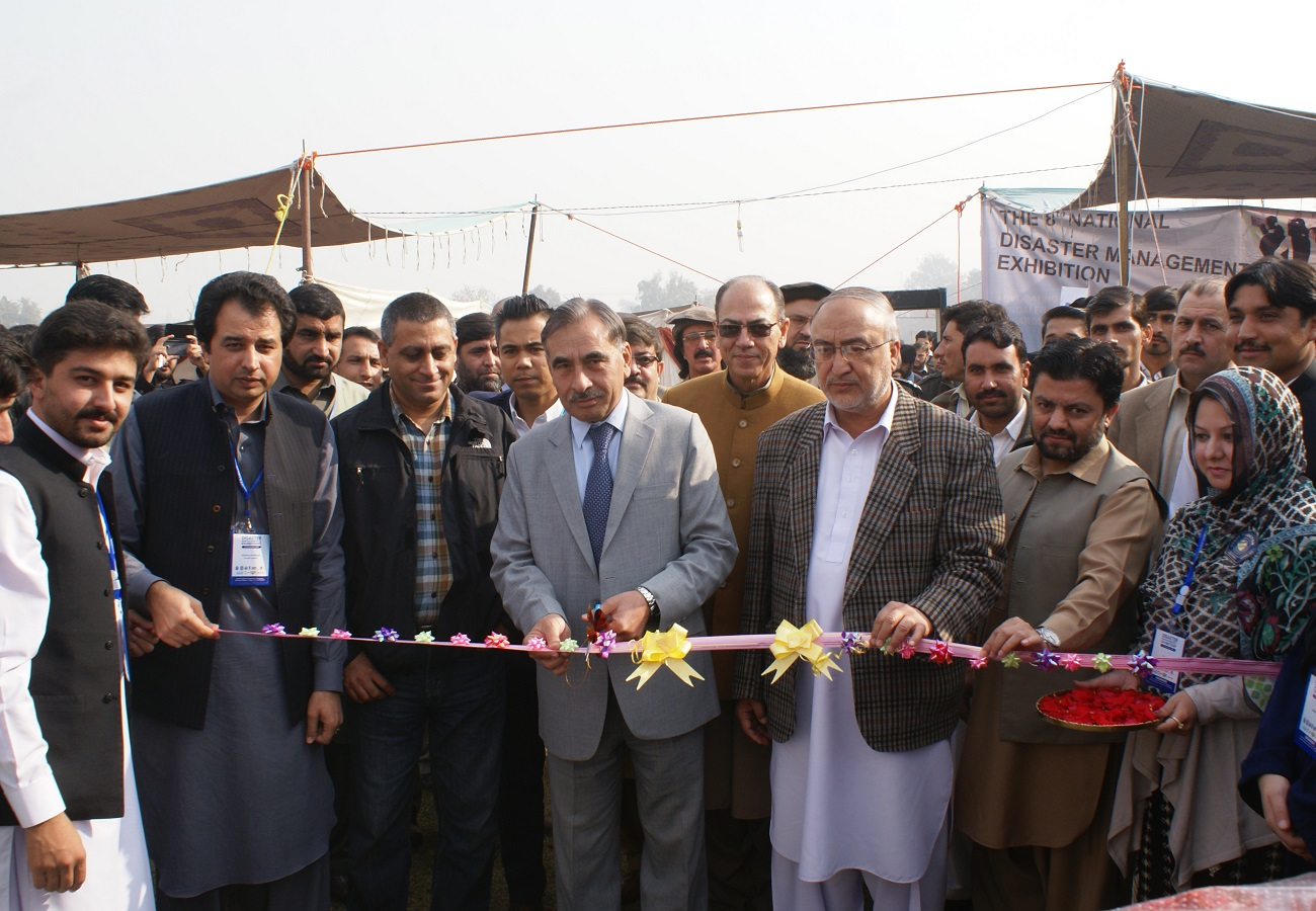 VC UoP Prof. Dr. Muhammad Rasul Jan is inaugurating the Disaster Management Exhibition-2016 at the UoP