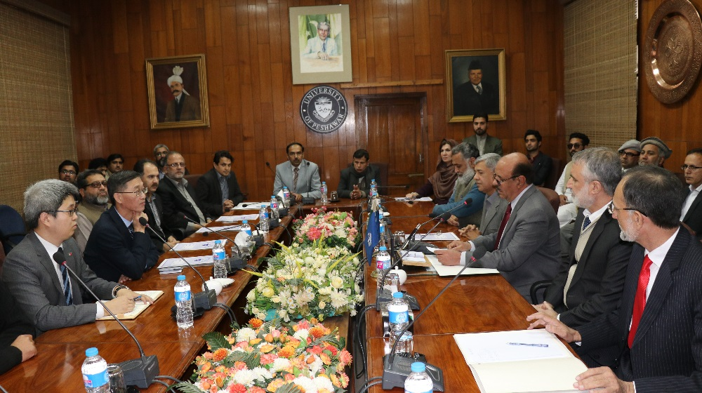 Vice Chancellor University of Peshawar Speaking during a meeting at Committee room # 1 with H.E. Chinese Ambassador Yao Jing on Thursday