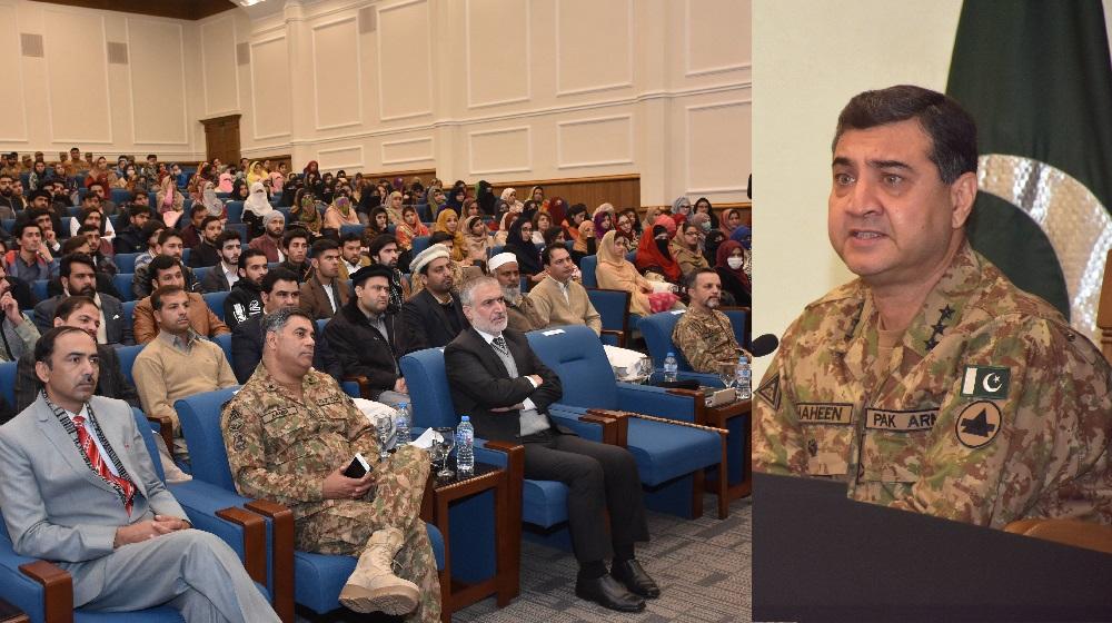 Corps Commander Peshawar Lieutenant General Shaheen Mazhar Mehmood is addressing students of University of Peshawar at the XI Corps headquarters auditorium on 9th January, 2019.