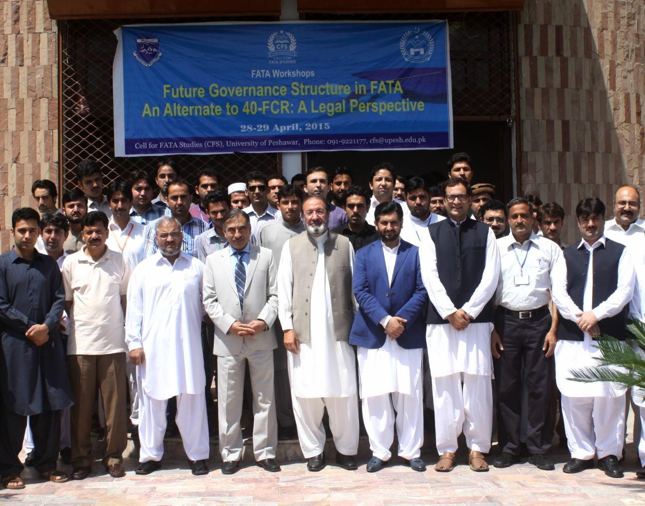 Vice Chancellor UoP Prof. Dr. Muhammad Rasul Jan in group photo with participants of workshop in FATA governance at the University of Peshawar