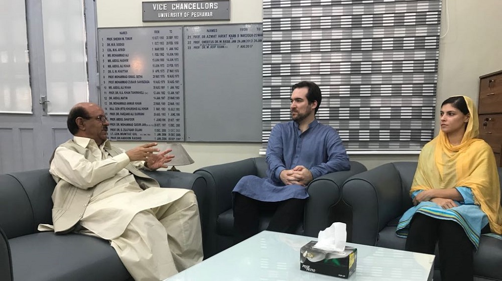 The Vice Chancellor University of Peshawar Prof. Dr. Muhammad Asif Khan is sharing views on University of Peshawars' impact on the region with Financial Times Asian Correspondent Don Weinland