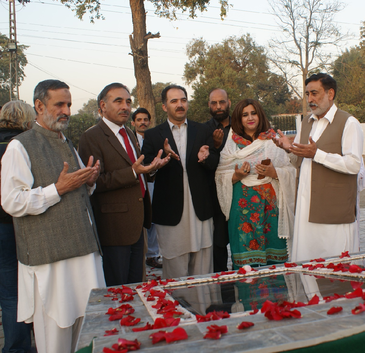 Vice Chancellor UoP Prof. Dr. Muhammad Rasul Jan offering Dua after inaugurating family park at the University of Peshawar