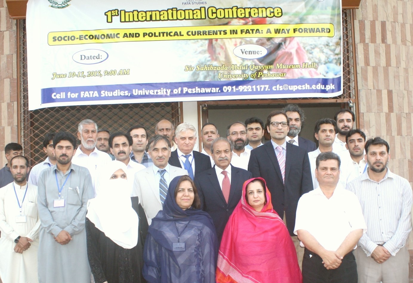 Governor KP Mehtab Ahmed Khan in group photo with participants of conference on FATA at the UoP