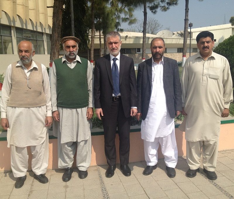 Pro VC/Acting Vice Chancellor University of Peshawar Prof Dr Muhammad Abid in a group photo with Layaq Zada Layaq, Regional Director Pakistan Broadcasting Corporation Peshawar and others, after planting a tree at Broadcasting House Peshawar here Wednesday