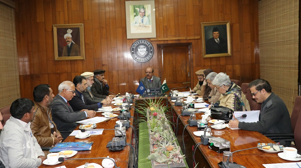 Vice Chancellor University of Peshawar Prof.Dr.Muhammad Asif Khan is presiding over a meeting of Deans, administration Officers and association presidents to take a look at the current financial challenges to the University of Pehawar on 29th January, 2020.