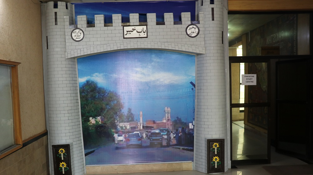 The 'Khyber Pass model' placed at the entrance of Pakistan Study Centre premises inaugurated on the Independence day illuminates the glory and heritage, it bears for the visitors and history.