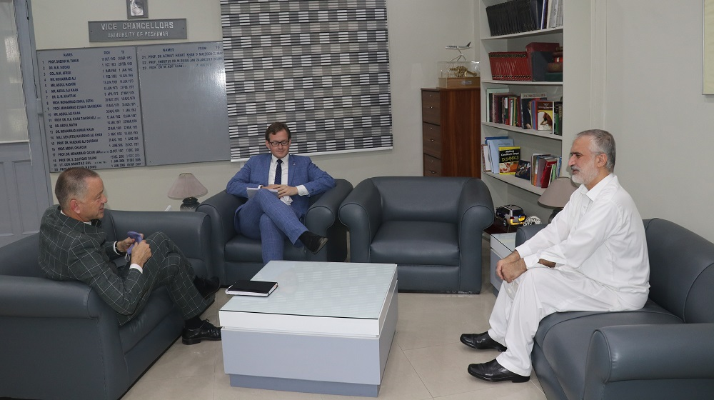 German Ambassador to Pakistan Mr. Bernhard Schlagheck meets the Vice Chancellor, University of Peshawar, Prof Dr Muhammad Abid.