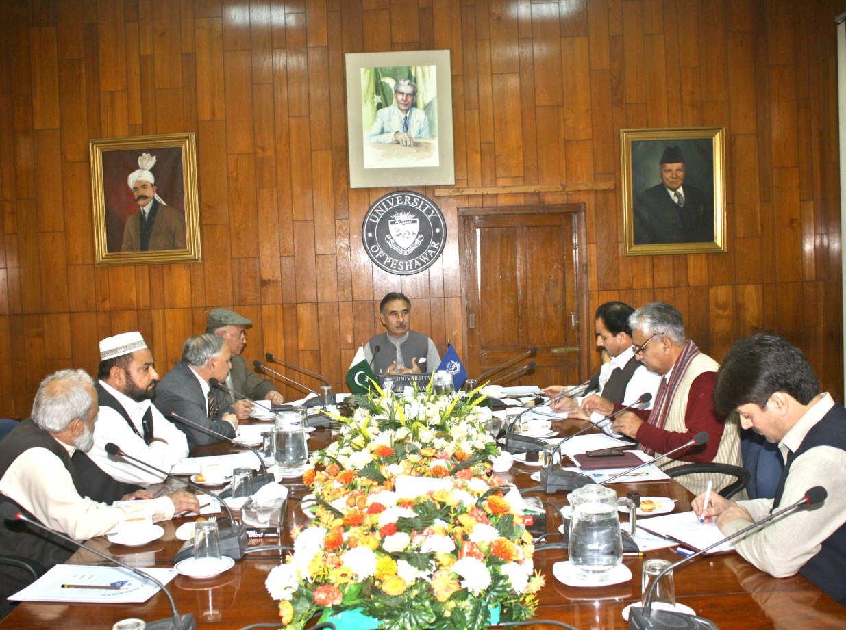 Vice Chancellor UoP Prof. Dr. Muhammad Rasul Jan chairing meeting of the Campus Coordination Committee at the UoP