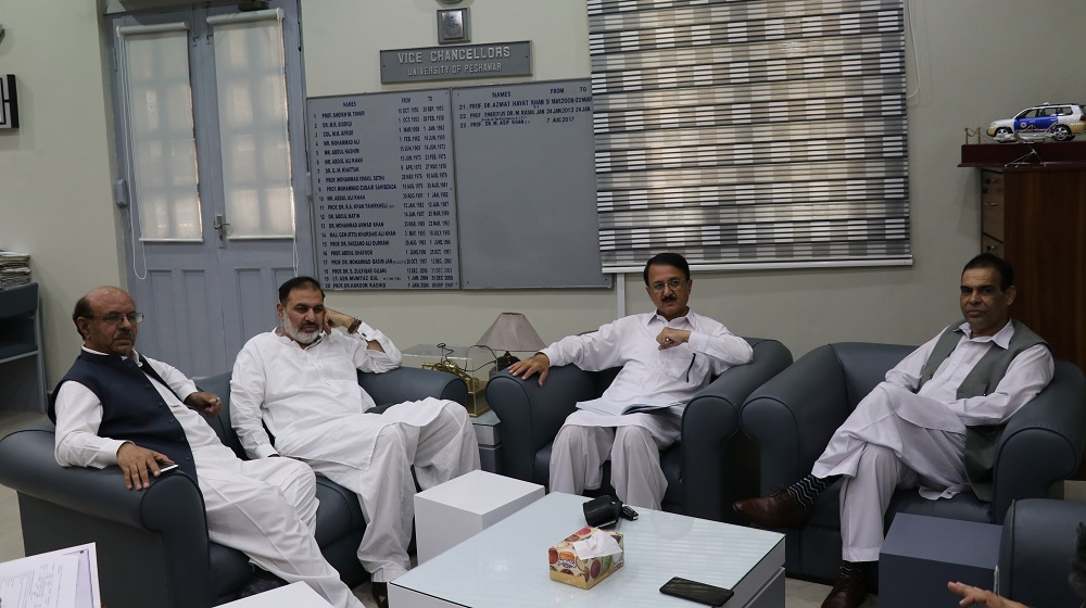 The adviser to Chief Minister Khyber Paktunkhawa and Strategic Support Unit specialist Muhammad Naeem Khan is holding a consultative meeting the vice chancellors of University of Peshawar and Agricultural University and others on 27th August, 2019.
