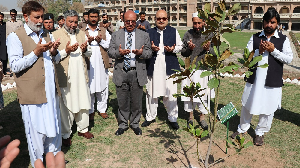 The Vice chancellor University of Peshawar, Prof. Dr. Muhammad Asif Khan launching the spring tree plantation drive at University of Peshawar on Wednesday at Sheikh Taimur Academic Block lawns