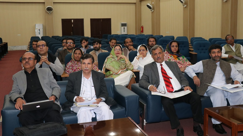 Vice Chancellor University of Peshawar, Prof. Dr. Muhammad Asif Khan is attending a consultation on proposed legislation for Centres of Excellence at R. A. Taherkheli Auditorium on Friday, 09 March,2018