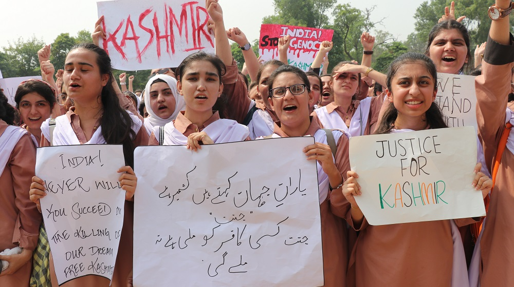 The students of Jinnah College for women are holding placards during a rally at the premises of the college ground on Friday 06th September, 2019 for showing solidarity with Kashmiris.