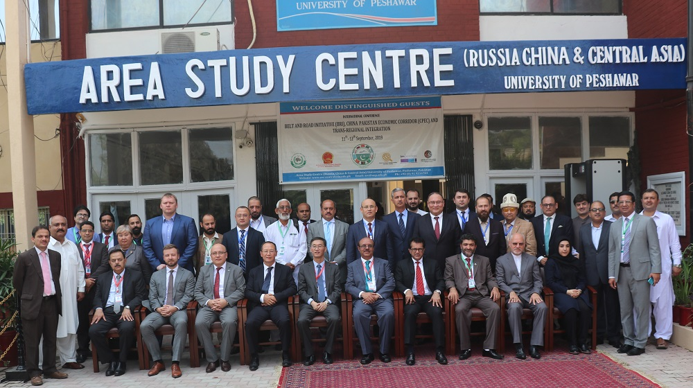 A group photo of excellencies, ambassadors  from Central Asia, China and Russian Federation on 11th September, 2019 pose with the Vice Chancellor University of Peshawar Prof. Dr. Muhammad Asif Khan at the International Conference on CPEC, BRI and Trans Regional integration at Area Study Centre, UoP.