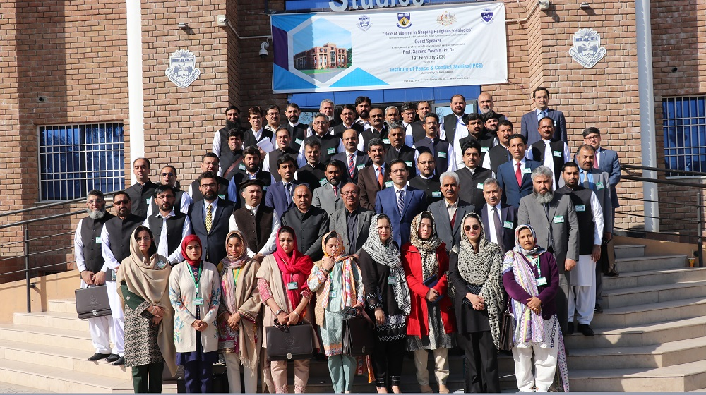 Vice Chancellor University of Peshawar Prof.Dr.Muhammad Asif Khan is posing for a group photo with mid-career 45 Civil Service officers after a training session at IPCS on 14th February, 2020.