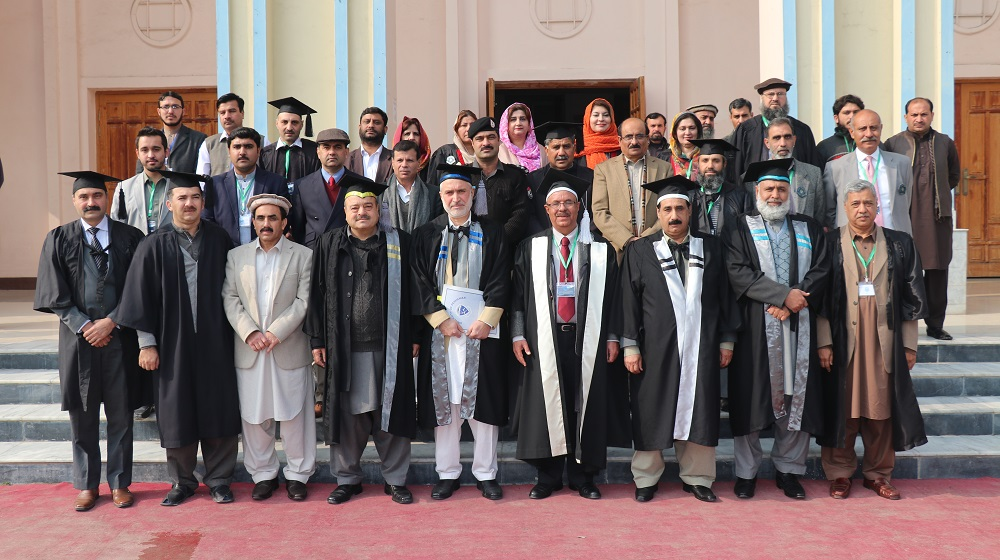 Vice Chancellor University of Peshawar posing for a group photo at the BS Convocation (2009-13 & 2010-14) being held on 27th January, 2018