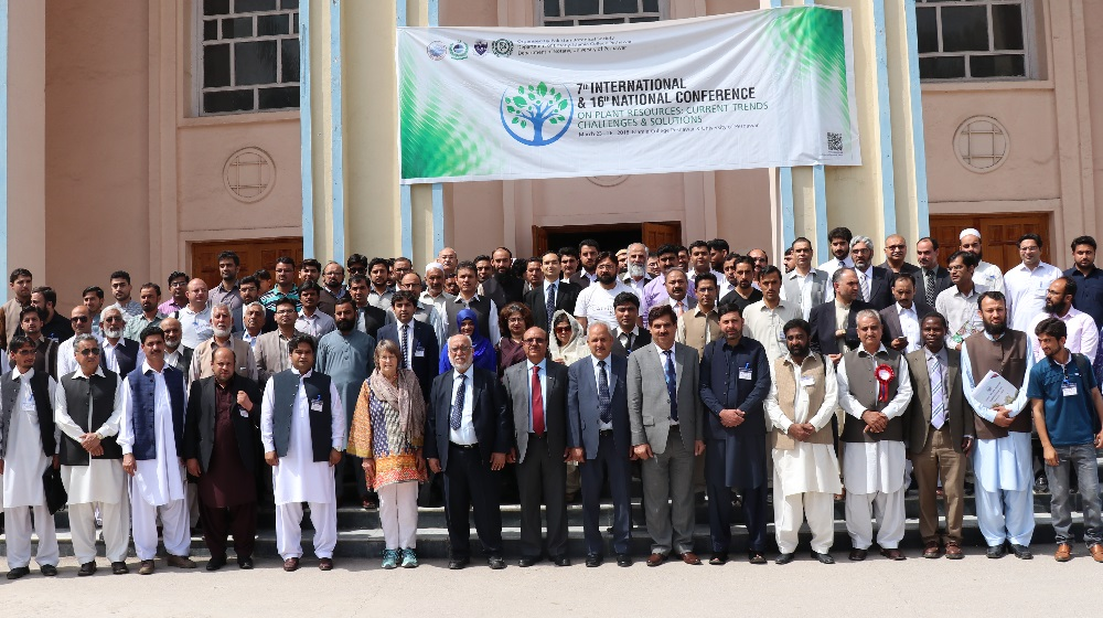 Group photo of distinguished guests and participants of international conference on plant resources, present after the inaugural session on saturday at University of Peshawar