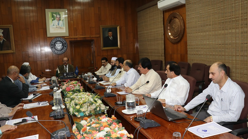 The Vice Chancellor University of Peshawar  Prof. Dr. Muhammad Asif khan is chairing the weekly sectional heads meeting at the Committee room I. This week the Controller of Examinations presented his section achievements, issues and annual plan in a detailed presentation.