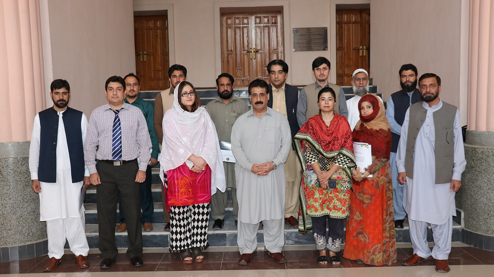 The Registrar University of Peshawar Dr. Zahid Gul is posing with the organizers and participants of the regional level workshop for National Endowment Scholarships for talent (NEST) at University of Peshawar on 18th October, 2018.
