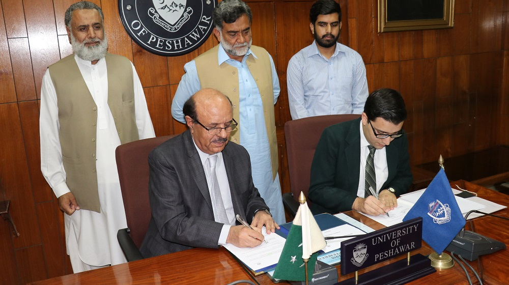 The Vice Chancellor University of Peshawar Prof. Dr. Muhammad Asif Khan is inking an memorandum of understanding with 'the triumphant organization' president Bilal Sethi  to foster school level capacity building for faculty and students on wednesday 24th October, 2018.