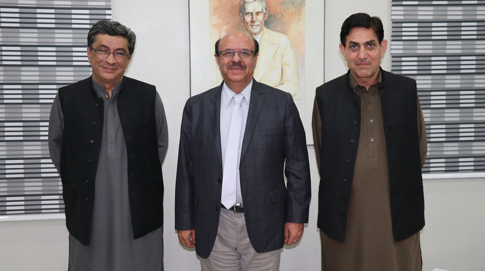 The Vice Chancellor University of Peshawar Prof. Dr. Muhammad Asif Khan is posing for a group photo  with visiting member provincial assembly Nazir Ahmad Abbasi  and architect Ali Asghar Khan after a meeting on wednesday 24th October, 2018.