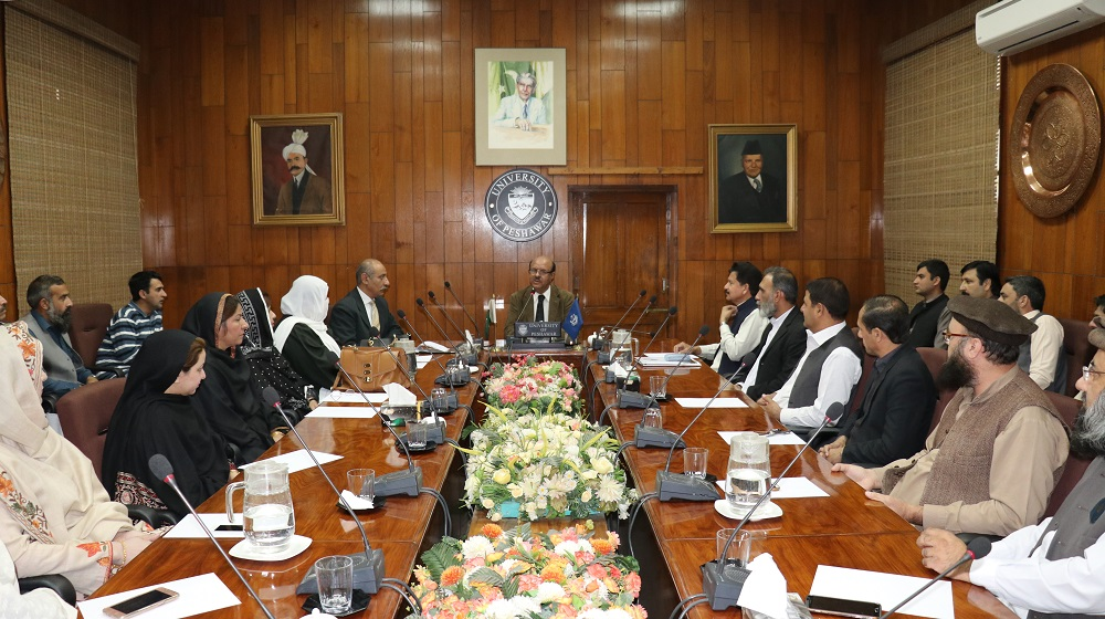 The Vice Chancellor University of Peshawar Prof. Dr. Muhammad Asif khan is describing his vision about students centric approach with staff proctors of University of Peshawar for the new academic session for Masters, M.phil. and Ph.D. programs on Thursday 08th November, 2018.