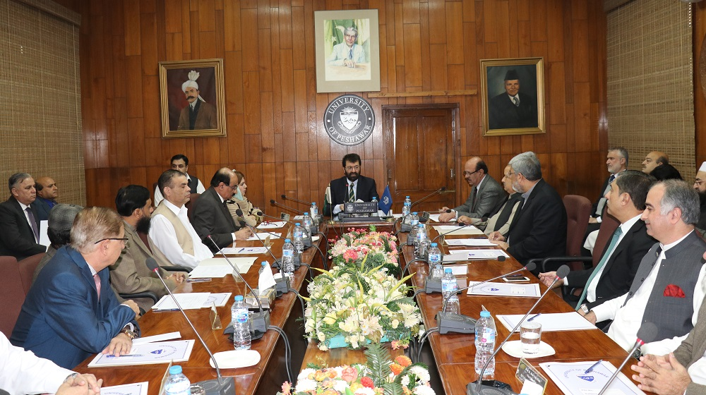 The Chairman Higher Education Commission Dr. Tariq Banuri is chairing a meeting including all public sector Universities vice chancellors of  Khyber Pakhtunkhwa   at Committee room I, University of Peshawar to discuss the road map of his higher education commission policy on Monday.
