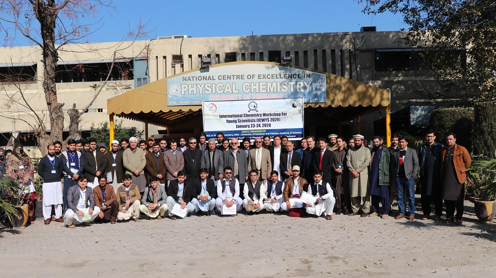 Vice Chancellor University of Peshawar Prof.Dr.Muhammad Asif Khan is flanked with national and international participants at the inaugural session of a two  day international Chemistry workshop for Young Scientist (ICWYS 2020) from 23-24 January.