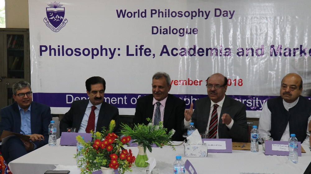 The Vice Chancellor University of Peshawar is flanked by secretary higher education department and others on the occasion of 'World Philosophy day' on 15th November, 2018