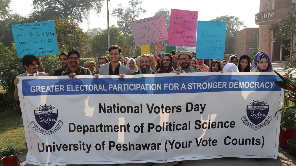 University of Peshawar's Political Science department is marking national voters day on friday by holding a walk to highlight  the crucial role of voters' registration and participation in polling for sustainable democracy and public participation  in national progress at University of Peshawar.