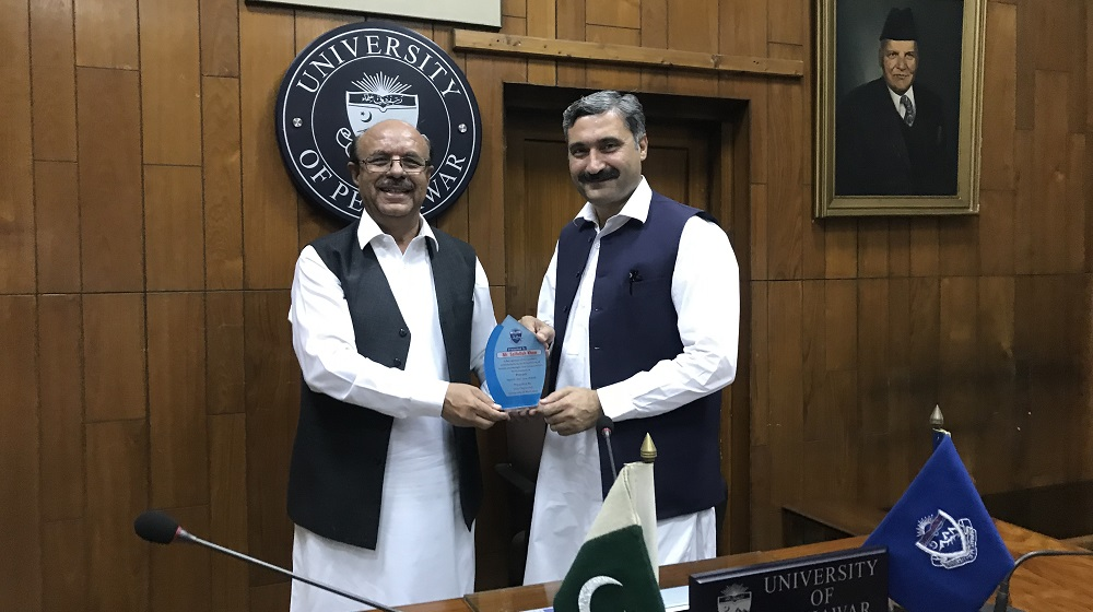 The Vice Chancellor University of Peshawar Prof. Dr. Muhammad Asif Khan is appreciating outgoing provost Mr. Saifullah Khan for his two year commendable work for hostels and Baragali Summer Camp reforms on 21st June, 2019