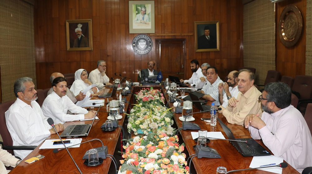 Members of the Advanced Studies & Research Board under the chairmanship of Vice Chancellor University of Peshawar are listening to proposal presentations on tuesday, 24 September.Around 26 PhD proposals get through the board in the day long activity.