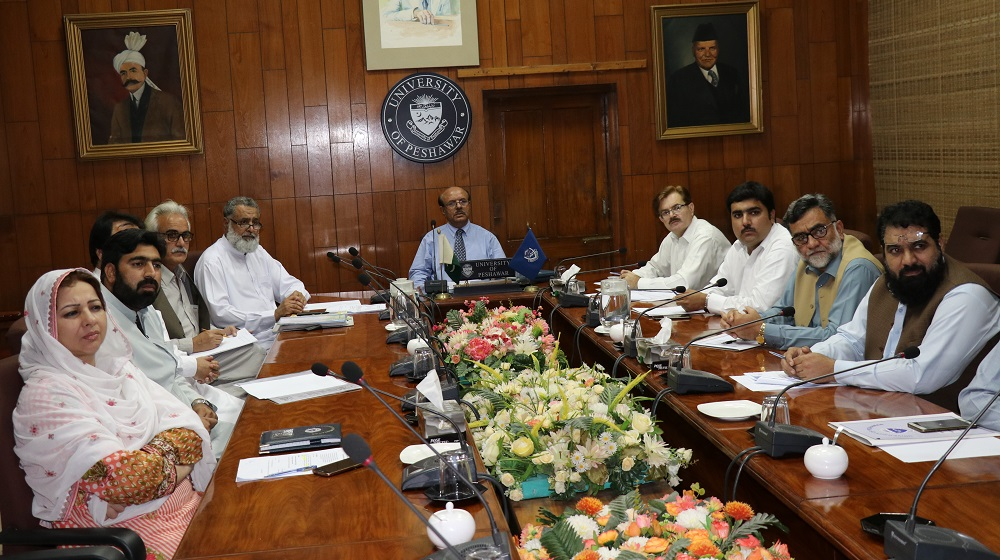 A meeting held on 23rd April, to review the architectural design being presented to Vice Chancellor, UoP Prof. Dr. Muhammad Asif Khan about proposed new building in the Pashto Academy to strengthen its facilities of preserving manuscript, translation and library space