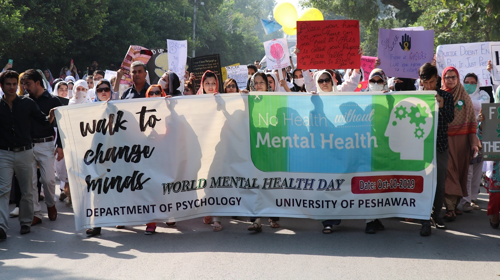 Faculty and students of the department of Psychology during a walk on Road II, on October 10th  are marking the 'World Mental Health Day'. Apart from walk, a full day free counselling camp along with painting competition was also arranged to observe the day.