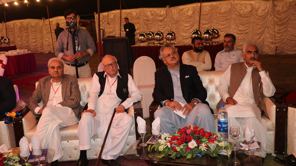 The Acting Vice Chancellor Prof. Dr. Johar Ali, UoP alumni association president Amjad Arbab, senior advocate Lateef Afridi and former interim prime minister & Chief Justice Nasir Mulk are seated at the first-ever fundraising event  on 26th October, 2019.