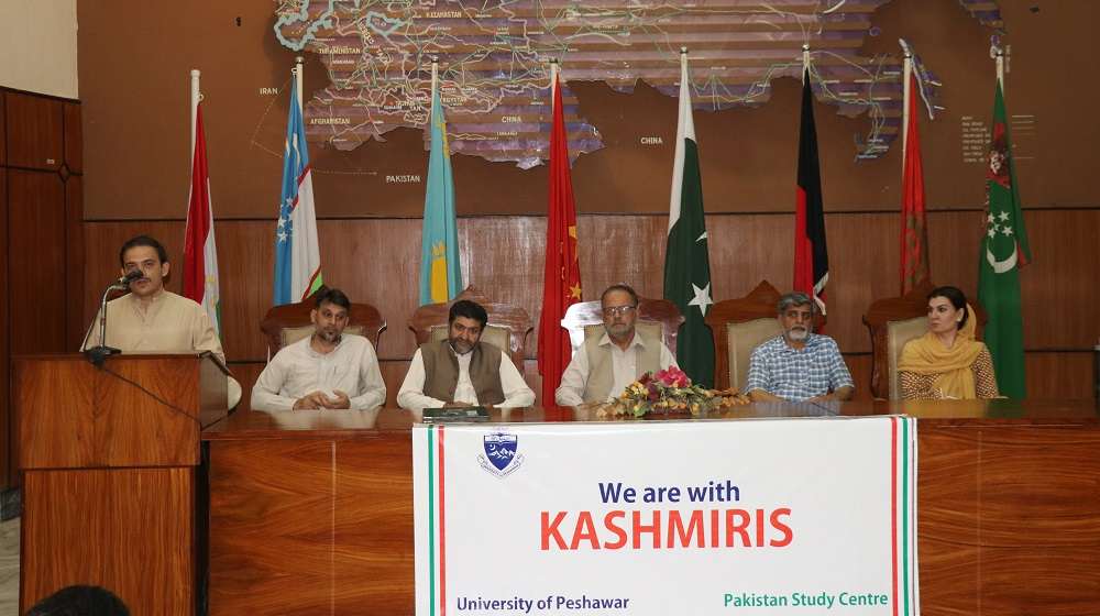 Speakers of a seminar for showing solidarity with Kashmir cause are assembled at Area Study Centre conference hall, University of Peshawar on 6th august, 2019.