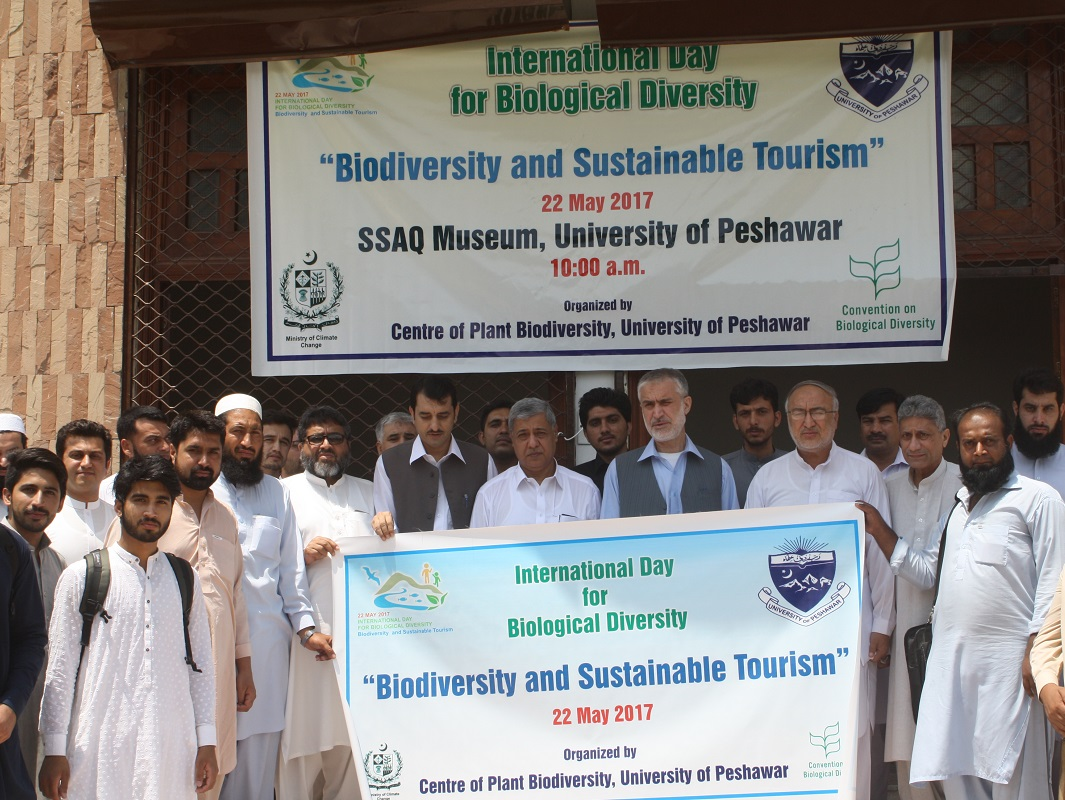 Vice Chancellor UoP Prof. Dr. Muhammad Abid in a group photo with the participants of the convention on Biological Diversity at UoP